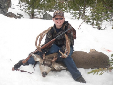 Dylan Potter with a buck he took during a mentored youth hunt