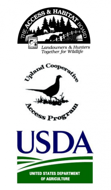Access and Habitat board logo, UCAP logo, and USDA logo