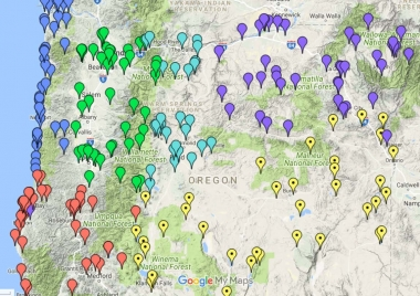 Map of locations in Oregon to view wildlife