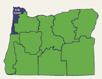 The north coast region highlighted on a map of Oregon