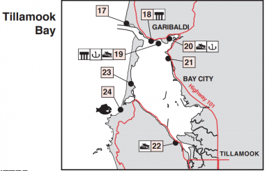 A drawn map of Tillamook Bay with fishing locations numbered