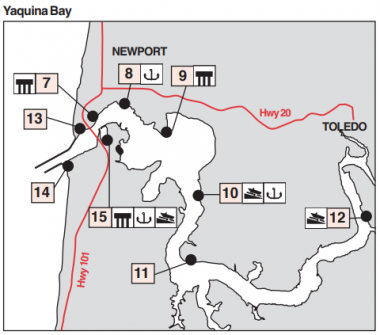 A drawn map of Yaquina Bay with fishing locations numbered to correspond with the article text