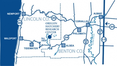 a map of Oregon showing the location of the Oregon Hatchery Research Center