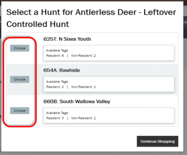 screen shot of leftover tags select a hunt