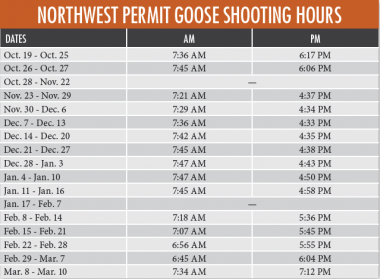 2019-20 NW Goose shooting hours