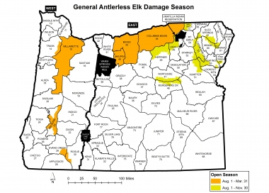map of new elk damage hunt areas