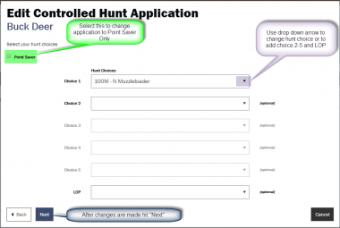 screen shot showing final step in changing controlled hunt application
