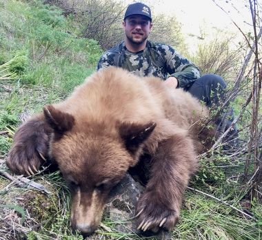 image of a hunter with spring bear in clearcut