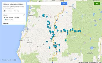 A screenshot of a google map showing fishing locations within an hour's drive of Roseburg