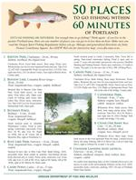 An image of the 50 places to fish within 60 minutes of Portland flyer