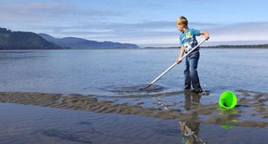 A young boy stands in shallow water in Netarts Bay with a shovel digging for clams. A bright green bucket is knocked over next to the boy's feet.