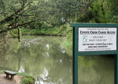 a welcome sign at Coyote Creek