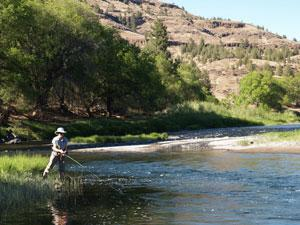 A person has a fishing line in the water of the John Day River