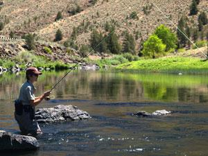an angler stands in the John Day River with their line in the water