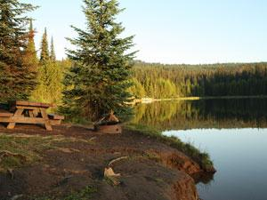 a wooden picnic table sits on the bank of Jubilee Lake
