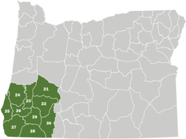 A map of Oregon with the Southwest Area highlighted in green.
