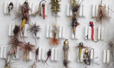a display of fly-fishing flies
