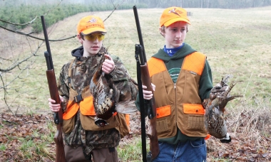 Boys pheasant hunt