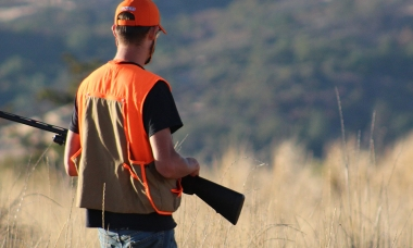 image of a solitary pheasant hunter on a grassy ridge