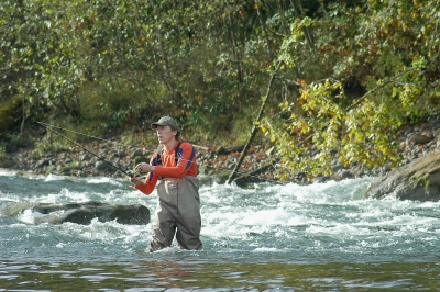 Angler fishing for salmon on Clackamas River
