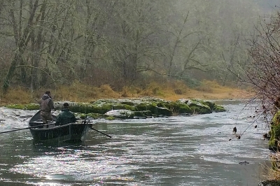 boat bound anglers on Alsea River